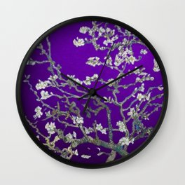 Vincent van Gogh Blossoming Almond Tree (Almond Blossoms) Amethyst Sky Wall Clock