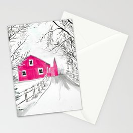 Red Barn in the Snow Stationery Cards