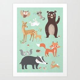 Nursery Woodland Animals POSTER Art Print