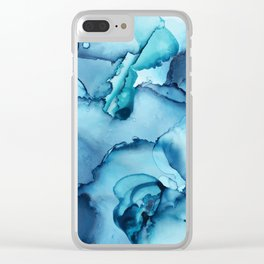 The Blue Abyss - Alcohol Ink Painting Clear iPhone Case