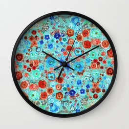 Red & Blue floral. Wall Clock