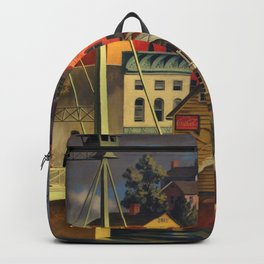New England Town on the Two Rivers with Bridge landscape painting by Peter Blume Backpack