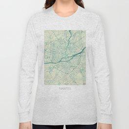 Nantes Map Blue Vintage Long Sleeve T-shirt