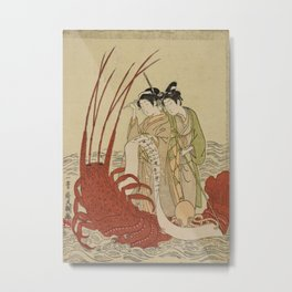 Lovers and a literate octopus by Ippitsusai Buncho Metal Print