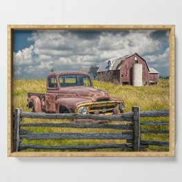 Pickup Truck behind wooden fence in a Rural Landscape Serving Tray