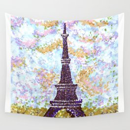 Eiffel Tower Pointillism by Kristie Hubler Wall Tapestry