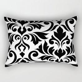 Flourish Damask Art I Black on White Rectangular Pillow