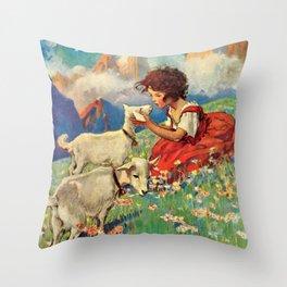 12,000pixel-500dpi - Jessie Willcox Smith - Heidi, Girl Of The Alps - Digital Remastered Edition Throw Pillow