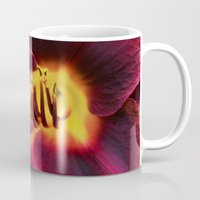 burgundy Mugs featuring Burgundy Satin by hewnly