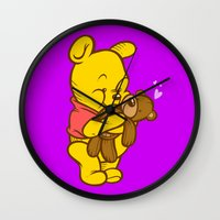 pooh Wall Clocks featuring Pooh And Teddy by Artistic Dyslexia