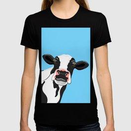 Black & White Cow Portrait on blue T-shirt