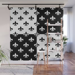 Black & white royal lilies (chessboard) Wall Mural