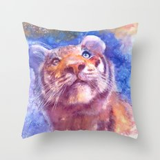 Waiting for the stars (tiger, big cat, cat, kitty, kitten, gato, chat) Throw Pillow