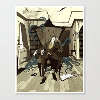 lovecraft Canvas Prints featuring H.P. Lovecraft by Abigail Larson