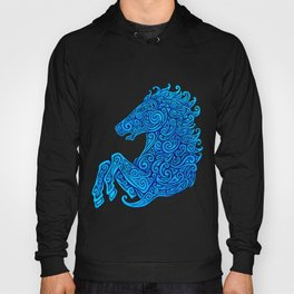 Blue Celtic Horse Abstract Spirals Hoody