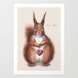 Squirrel heart love Art Print