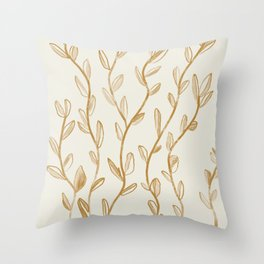 Gold vines in bud Throw Pillow