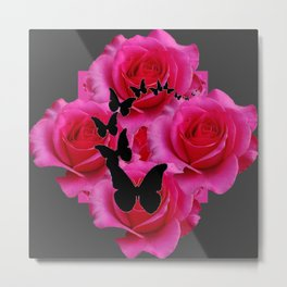 BLACK BUTTERFLIES FUCHSIA ROSES GREY ART Metal Print