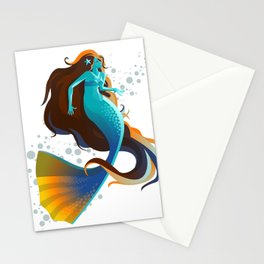 colorful mermaid swimming Stationery Cards