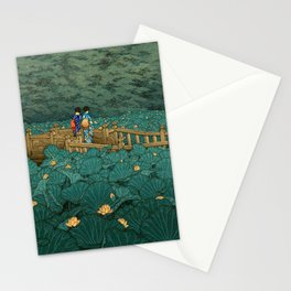 Vintage Japanese Woodblock Print Kawase Hasui Japanese Children Lotus Flowers Garden Wooden Bridge Stationery Cards
