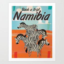 Namibia African Zebra vintage travel poster Art Print
