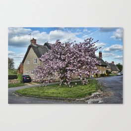 Ashby St Ledgers thatched cottages Canvas Print