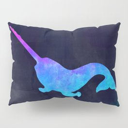 NARWHAL IN SPACE // Animal Graphic Art // Watercolor Canvas Painting // Modern Minimal Cute Pillow Sham