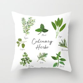 Culinary Herbs Throw Pillow