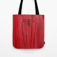 spider man Tote Bags featuring Spider-Man by Charleighkat