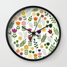 Scandinavian Style Flora & Fauna Pattern Wall Clock