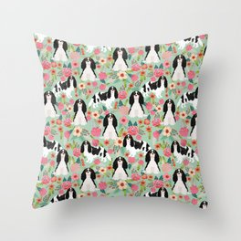 Cavalier King Charles Spaniel floral flowers dog breed pattern dogs mint Throw Pillow