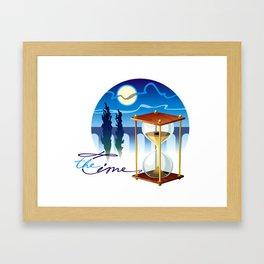 Sand-glass with southern landscape Framed Art Print