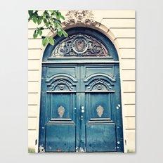 Paris door, navy, grand Canvas Print
