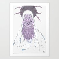 cthulu Art Prints featuring Cthulu Invades Spirituality Part 3 by radixrising