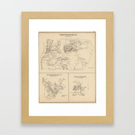 Vintage Map of Spofford and Chesterfield NH (1892) Framed Art Print