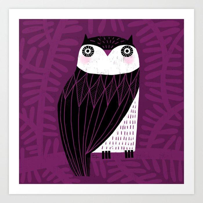 BLACK & WHITE OWL Art Print