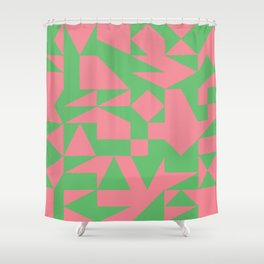 English Square (Pink & Green) Shower Curtain