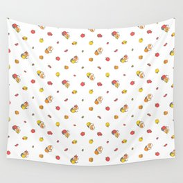 Bell Peppers and Guinea Pigs Pattern in White Background Wall Tapestry