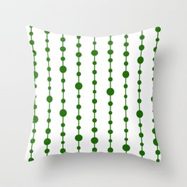 Green vertical lines and dots Throw Pillow