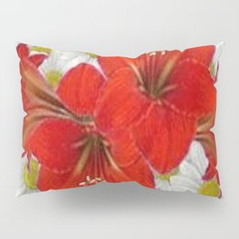 RED AMARYLLIS WHITE DAISIES FLORAL ART Pillow Sham