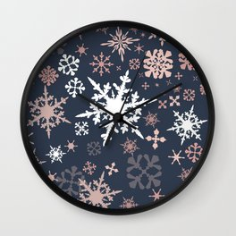 Beautiful Christmas pattern design with snowflakes Wall Clock