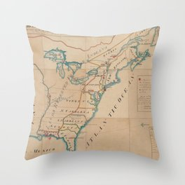 Vintage Map of British Forces in America (1766) Throw Pillow
