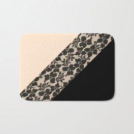 Elegant Peach Ivory Black Floral Lace Color Block Bath Mat