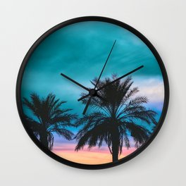 Tropical Palm Sunset in Turquoise Wall Clock