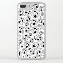 Music Pattern - Black and white #2 Clear iPhone Case