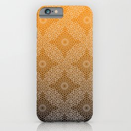 Detailed, lace like mandala pattern in white with gradient black and orange background iPhone Case