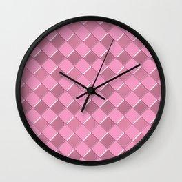 Pink tiles pattern Wall Clock