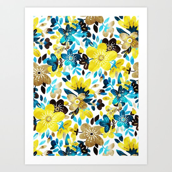 Happy Yellow Flower Collage Art Print