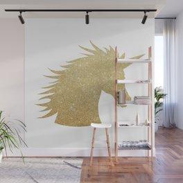 Gold Glitter Unicorn Wall Mural