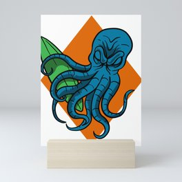 Octopus Surfer Surfing Water-sport Wave-rider Gift Mini Art Print
